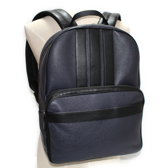 NEW Coach 3 Striped Navy Leather Backpack 36cba16b1a6af